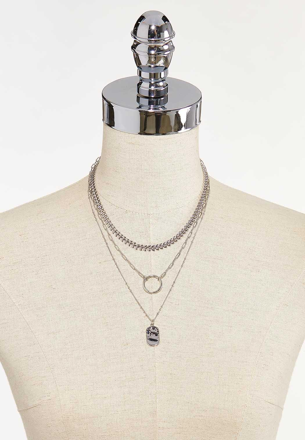 Layered Silver Chain Necklace (Item #44624112)