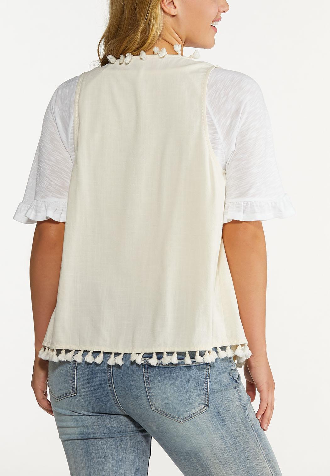 Plus Size Natural Tasseled Vest (Item #44624168)