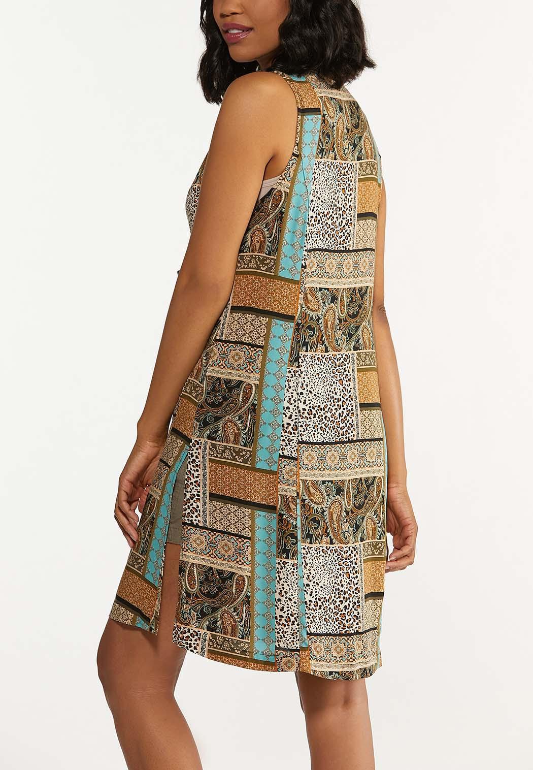 Plus Size Mixed Patchwork Print Vest (Item #44624223)