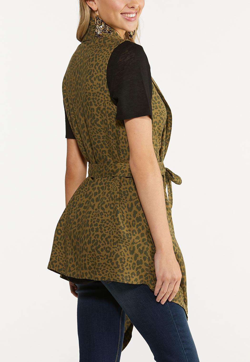 Plus Size Belted Leopard Cardigan (Item #44624237)