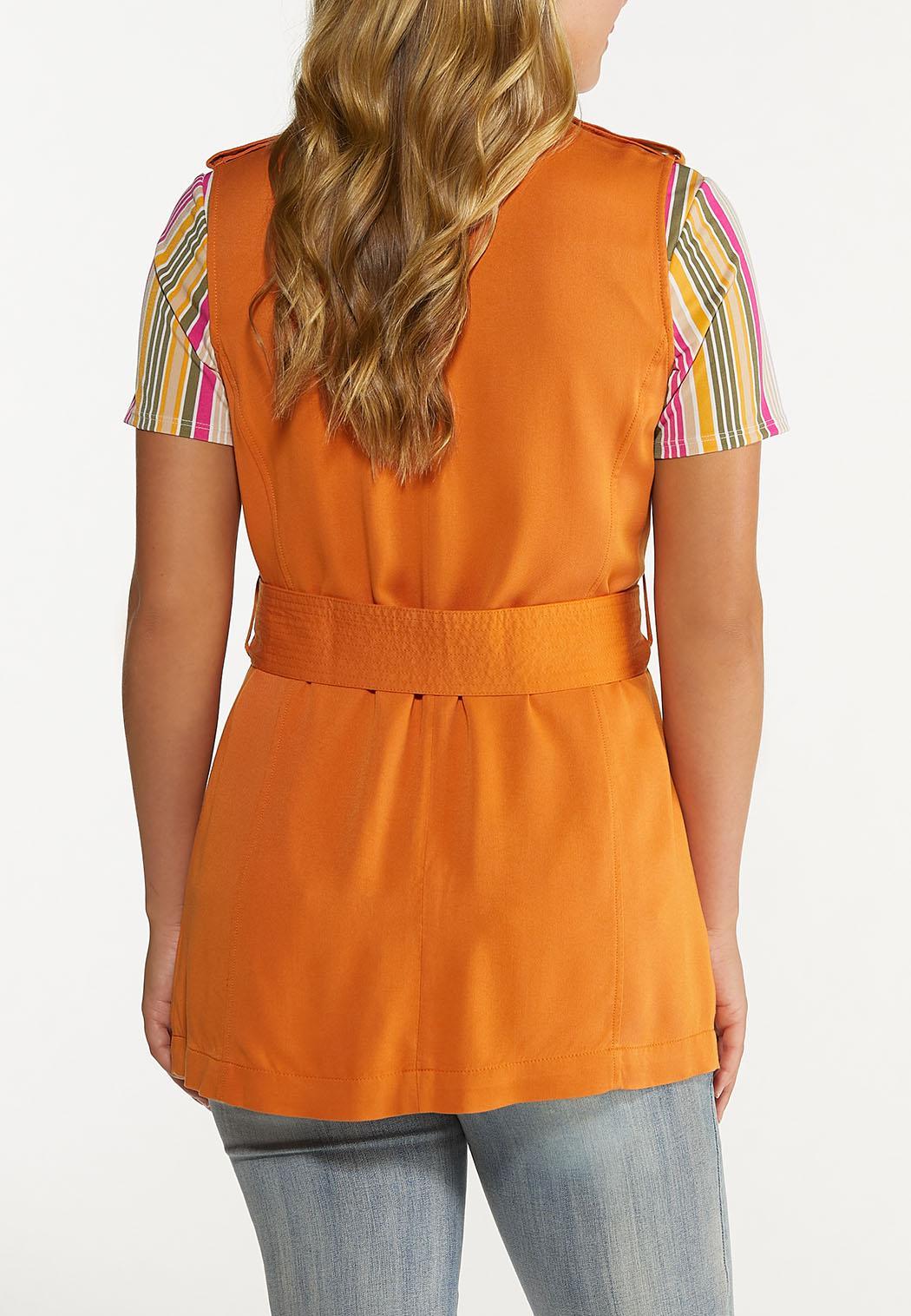 Plus Size Orange Belted Vest (Item #44624263)