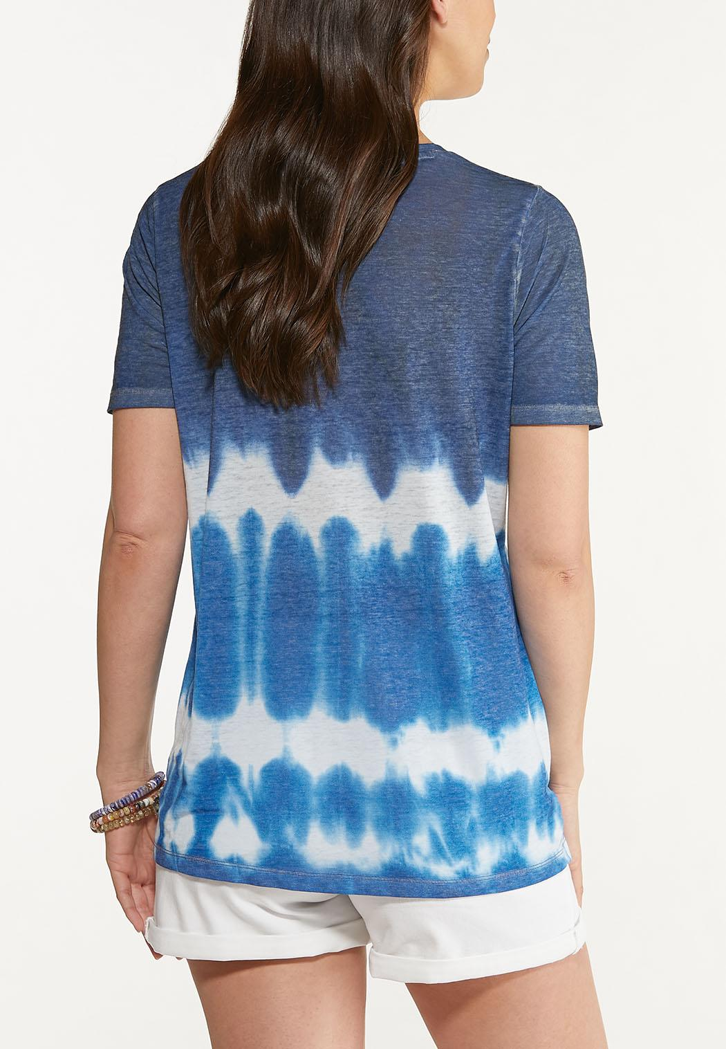 Plus Size Tie Dye V-Neck Tee (Item #44624282)