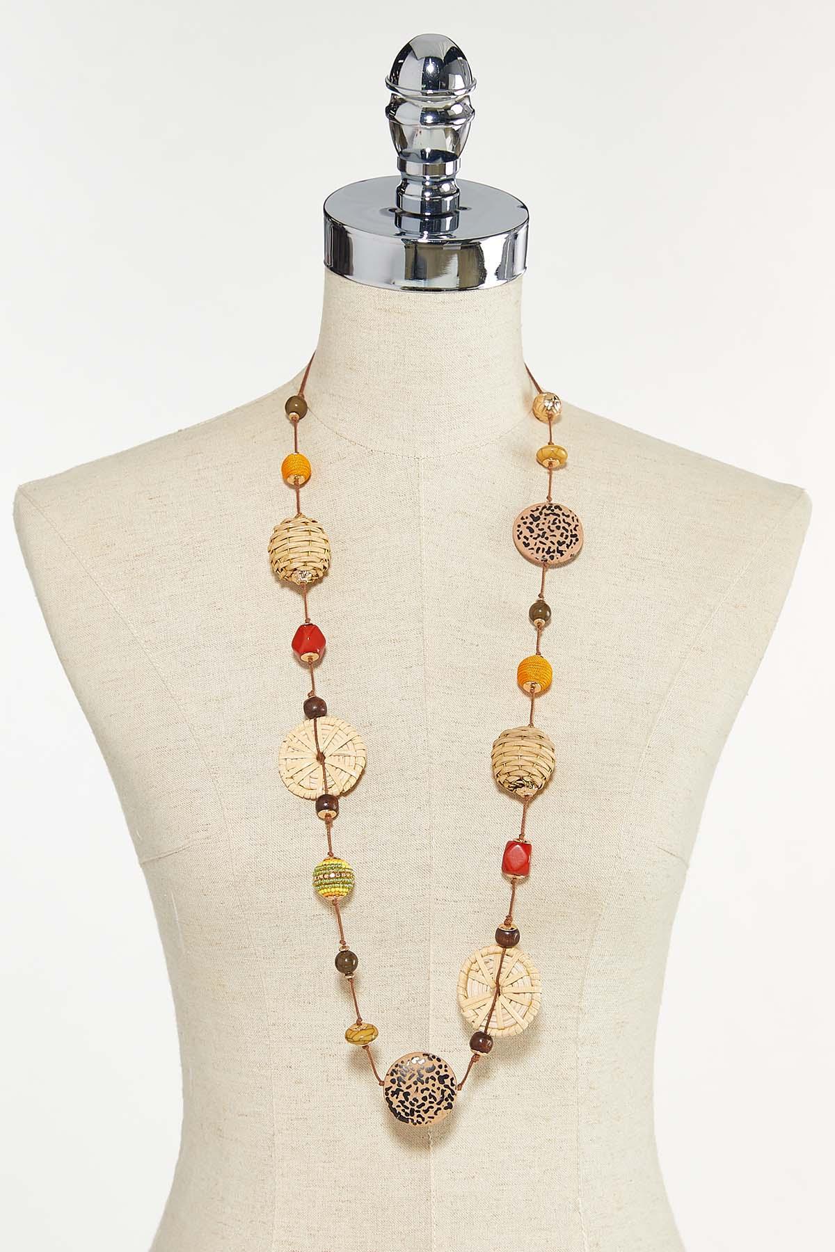 Raffia Leopard Bead Necklace (Item #44624642)