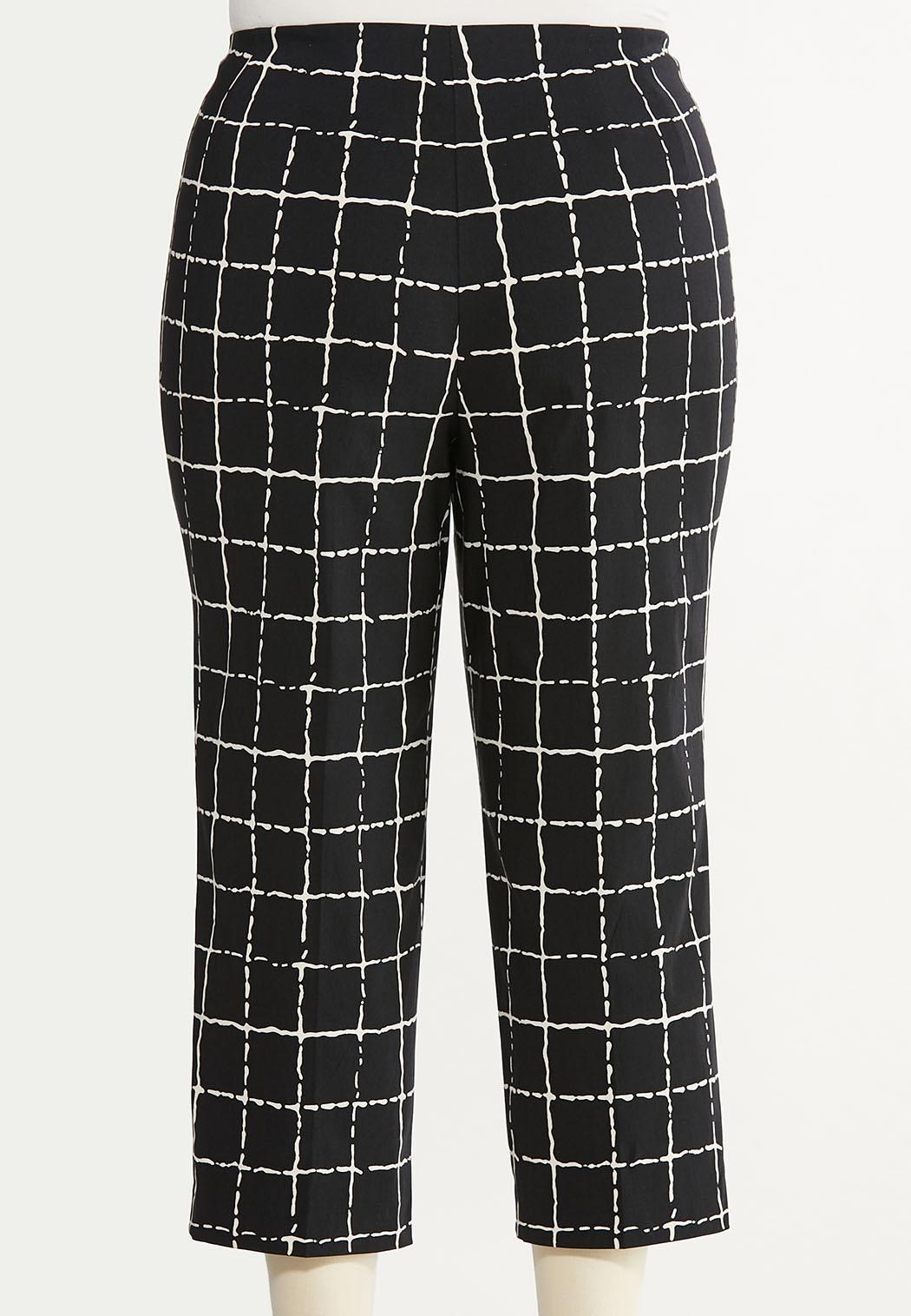 Plus Size Cropped Windowpane Pants (Item #44624748)
