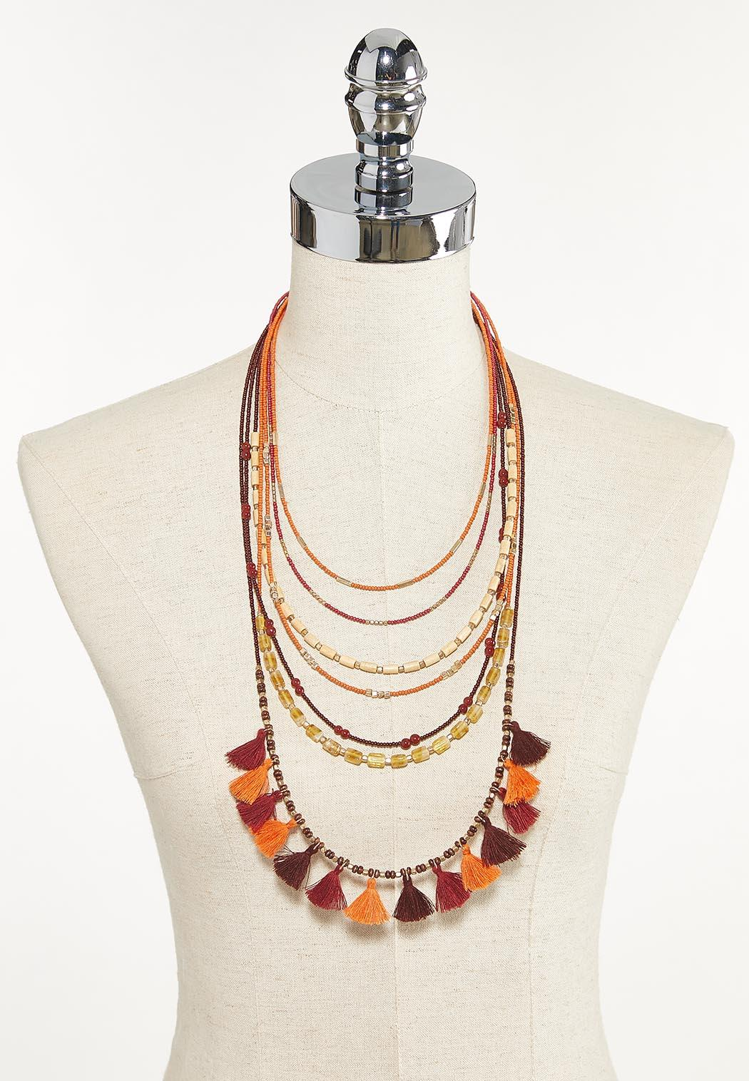 Mixed Layered Tassel Necklace (Item #44625246)