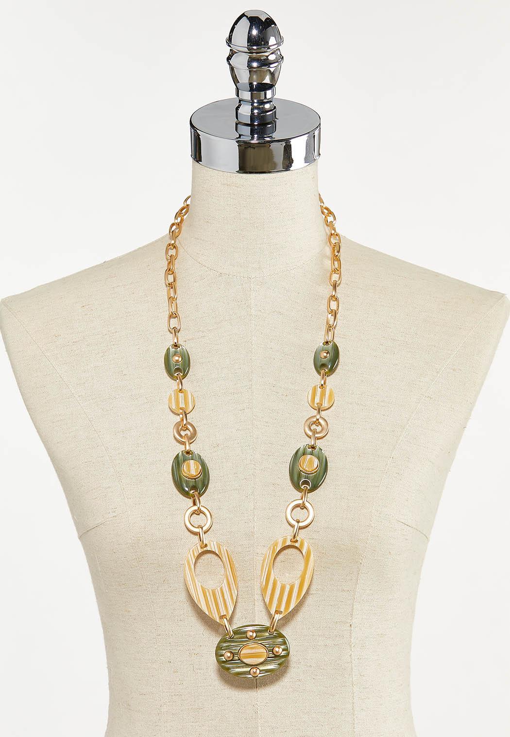 Gold Lucite Statement Necklace (Item #44625419)
