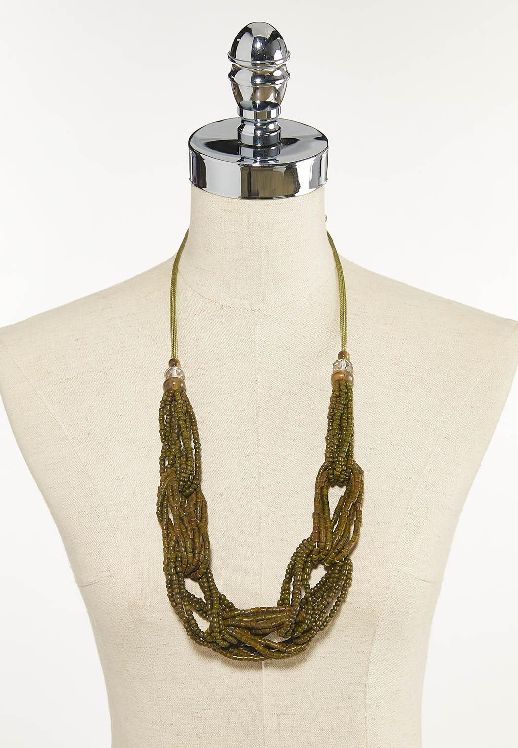 Olive Braided Bead Necklace (Item #44625647)