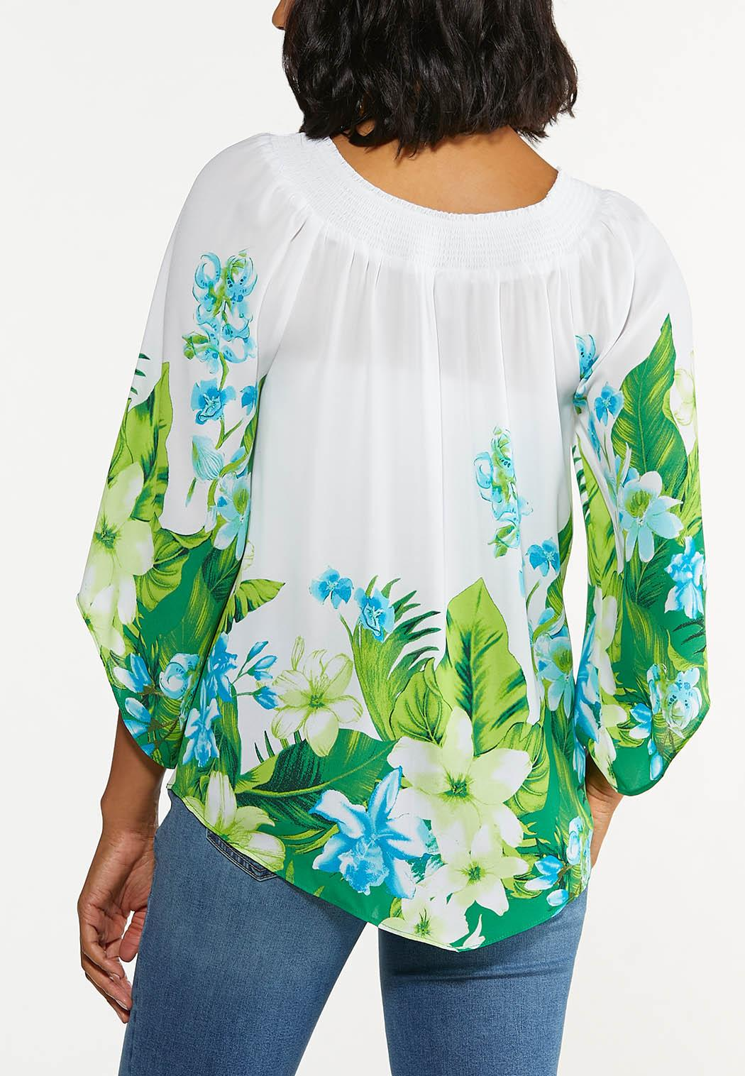 Plus Size Smocked Blue Floral Top (Item #44625825)