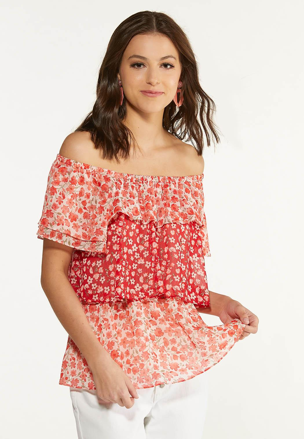 Red Floral Ruffled Top (Item #44625858)