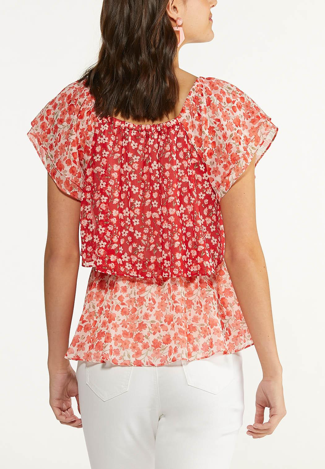 Plus Size Red Floral Ruffled Top (Item #44625880)