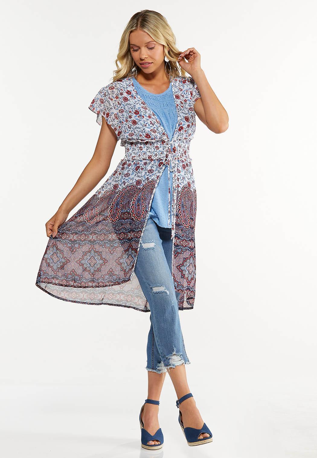 Plus Size Floral Flutter Sleeve Kimono (Item #44625915)
