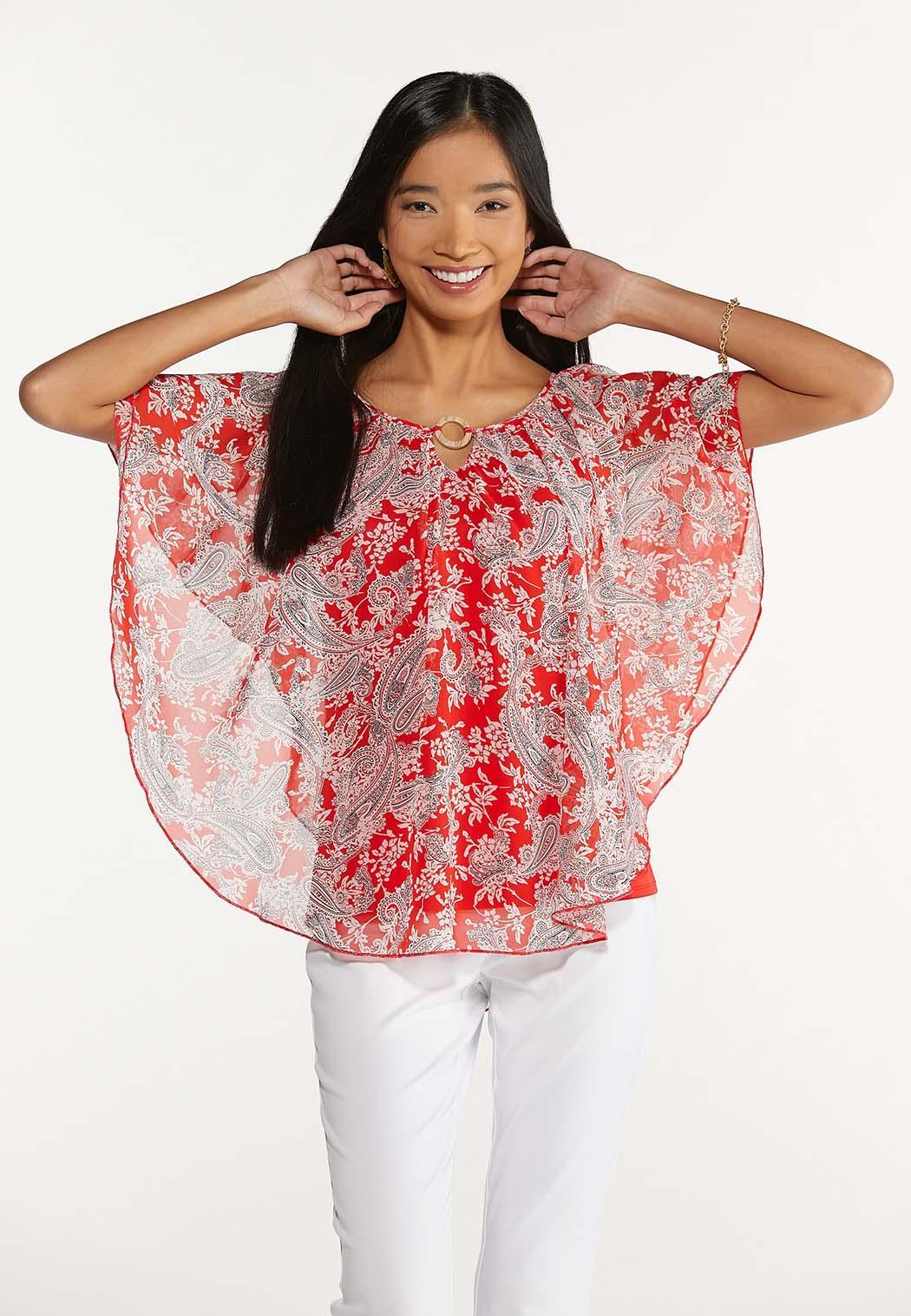 Plus Size Red Paisley Caplet (Item #44625951)