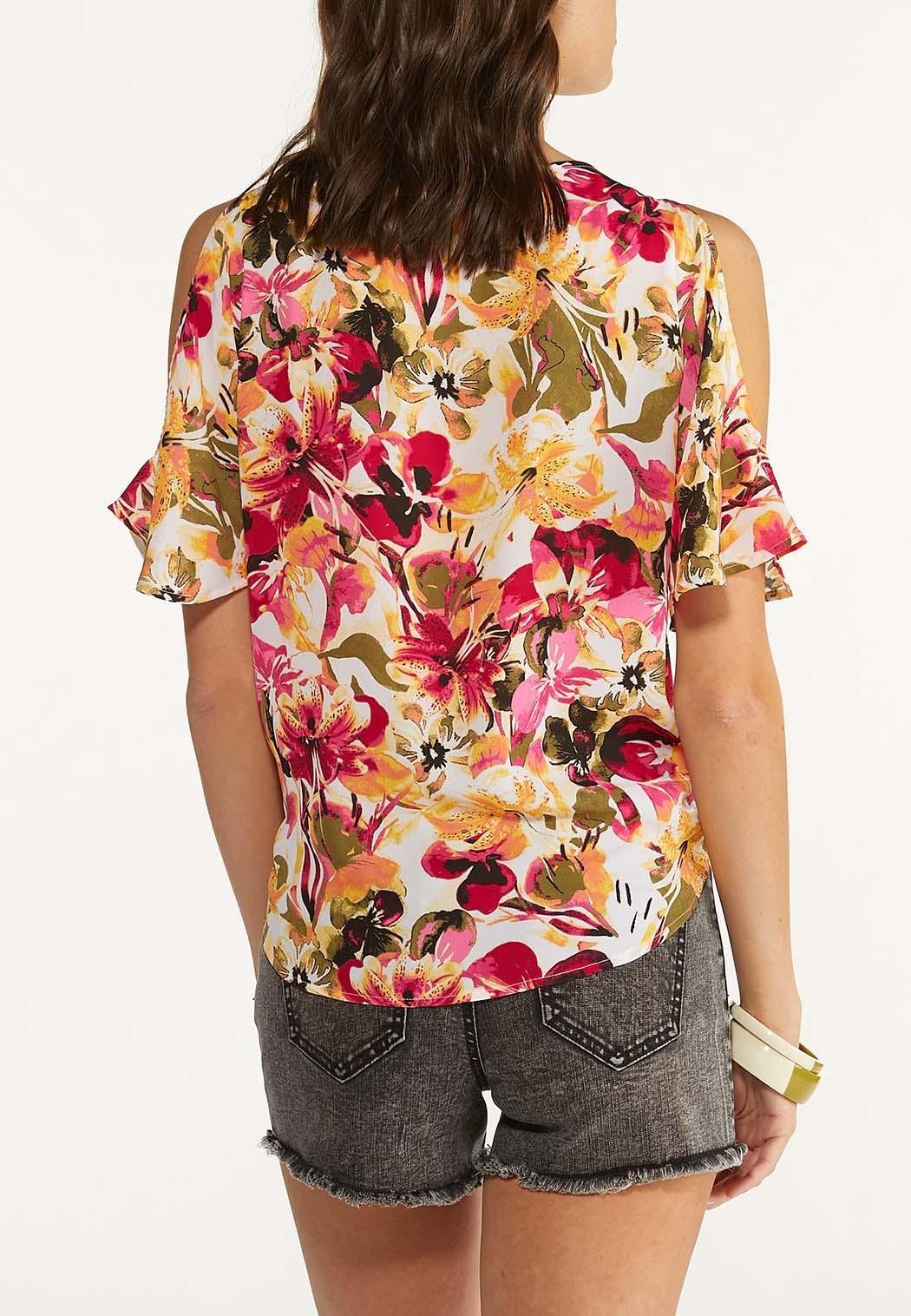 Plus Size Raspberry Floral Cold Shoulder Top (Item #44626025)