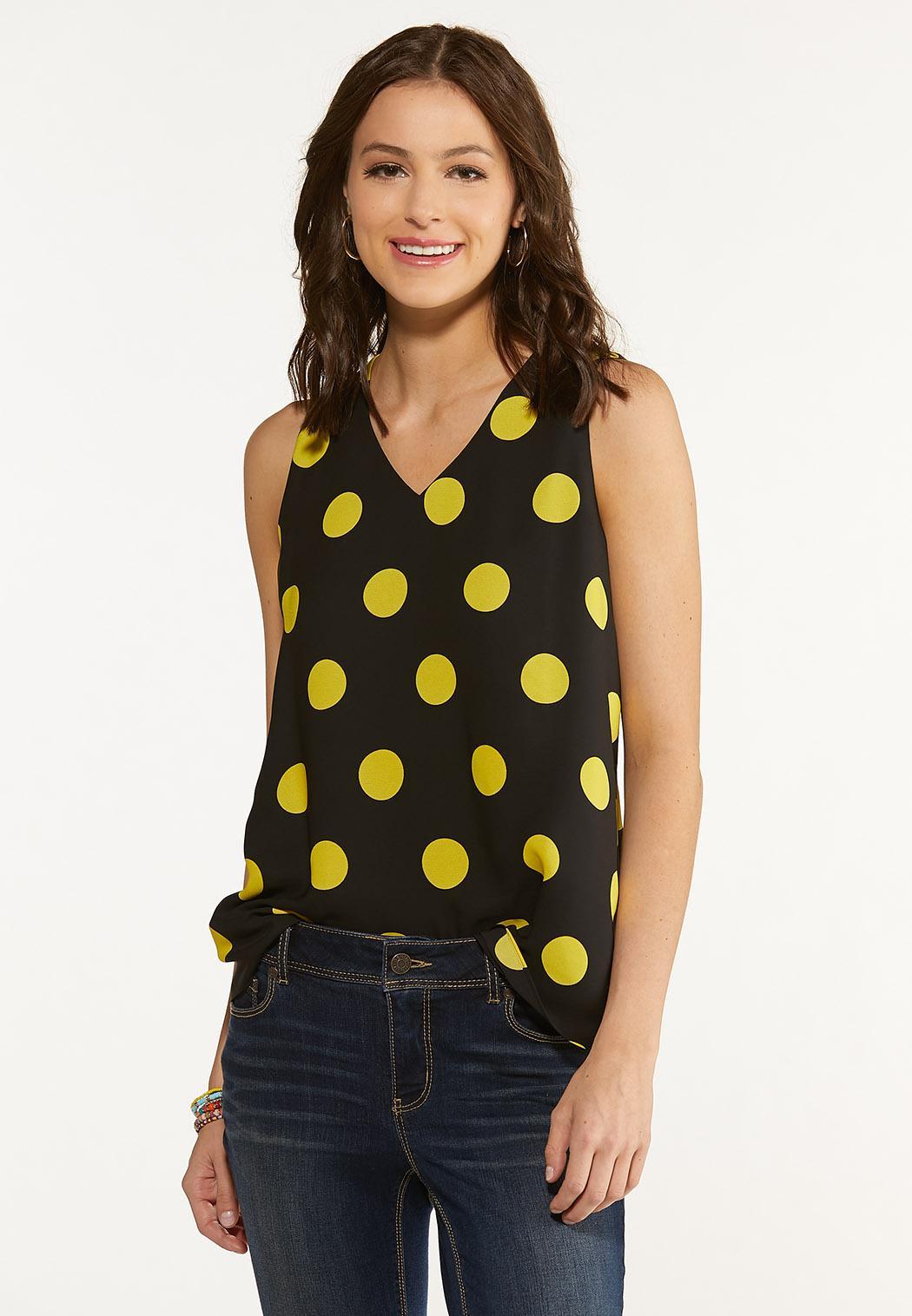 Plus Size Gold Polka Dot Layered Tank (Item #44626364)