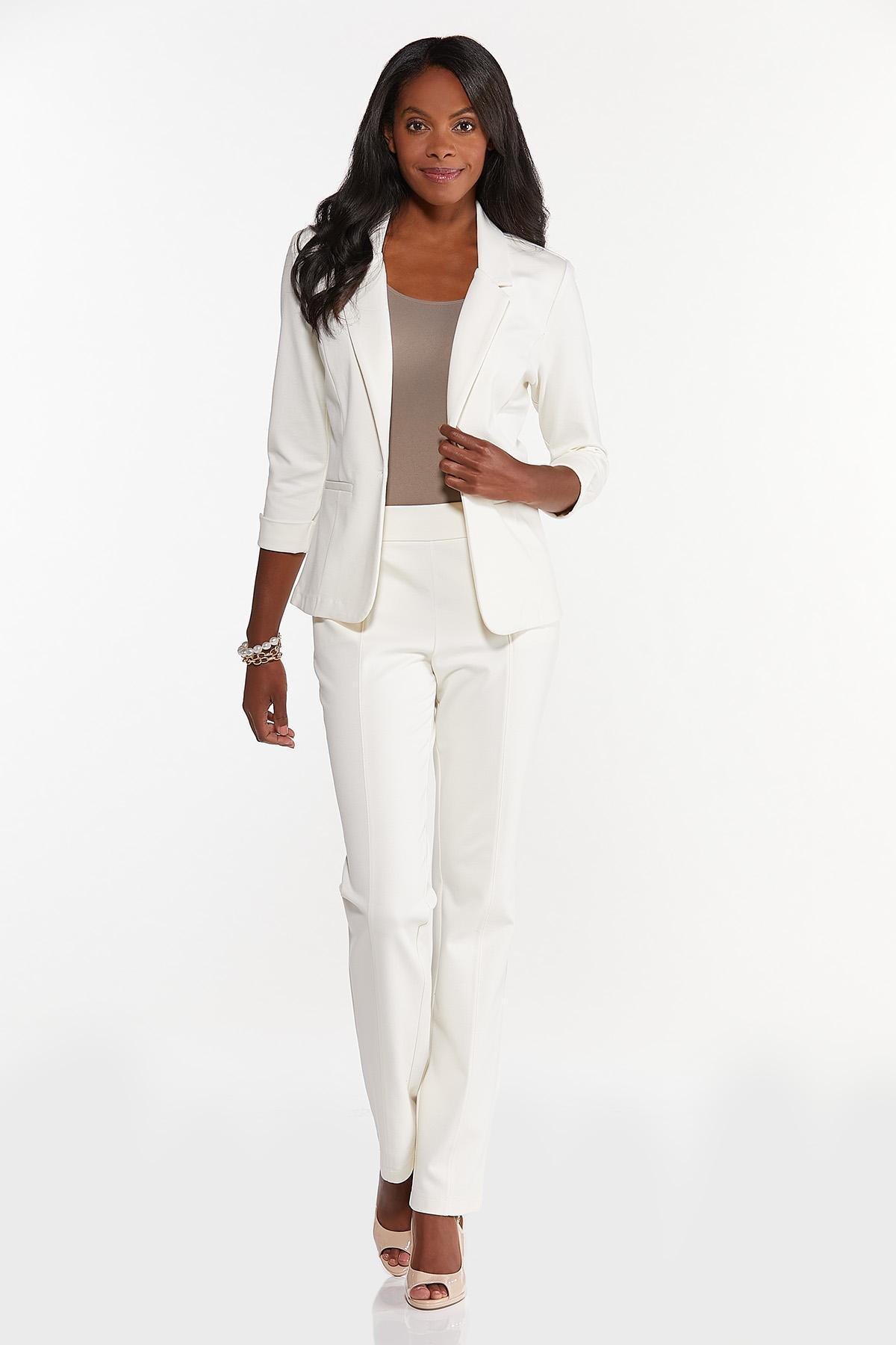 Cuff Sleeve Ponte Knit Blazer (Item #44626466)