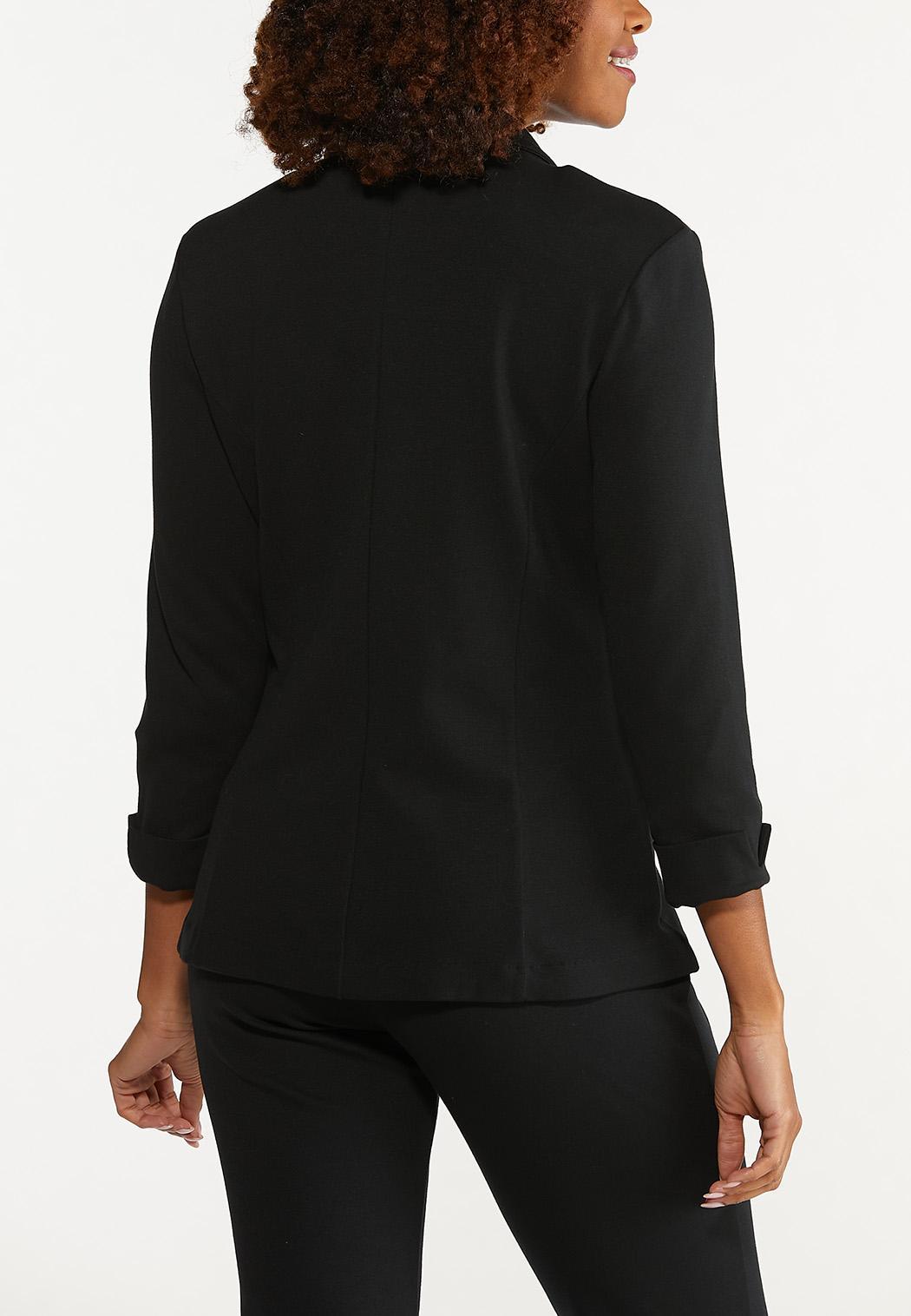 Plus Size Cuff Sleeve Ponte Knit Blazer (Item #44626615)