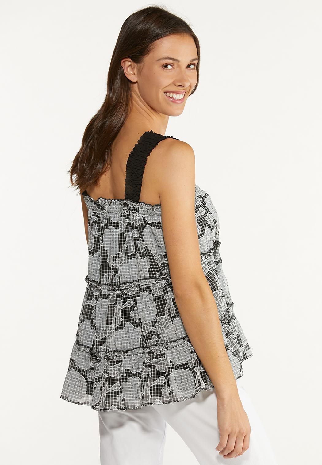 Plus Size Ruffle Check Floral Top (Item #44626670)