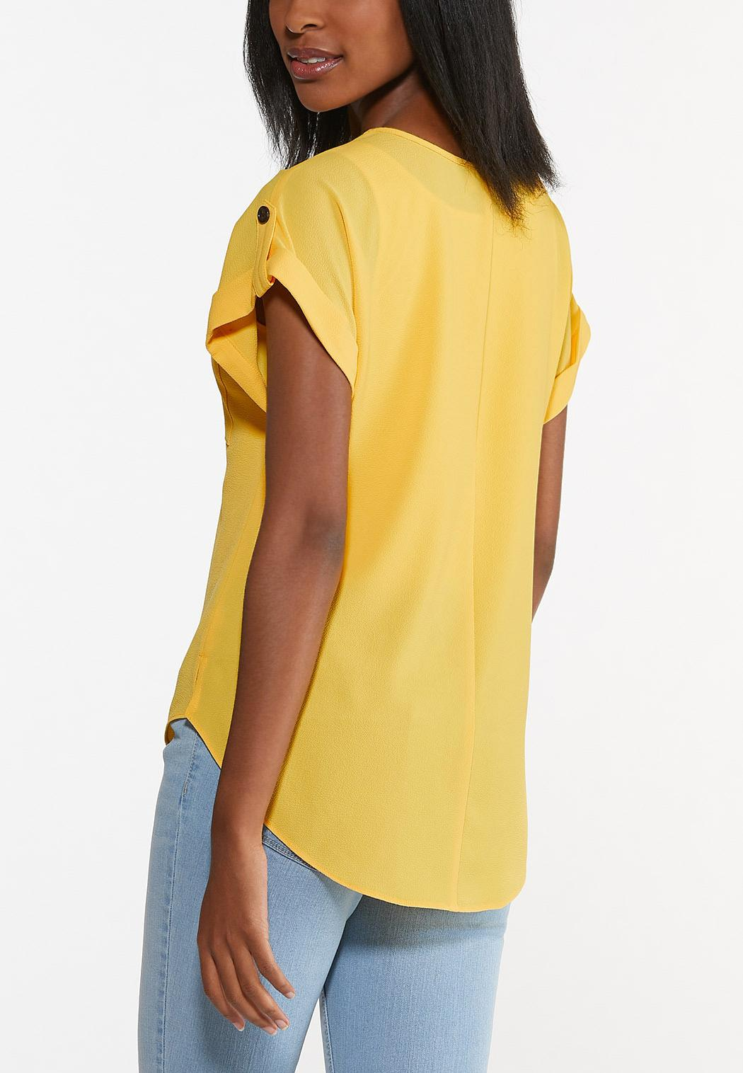 Plus Size Crepe Button Sleeve Top (Item #44626719)