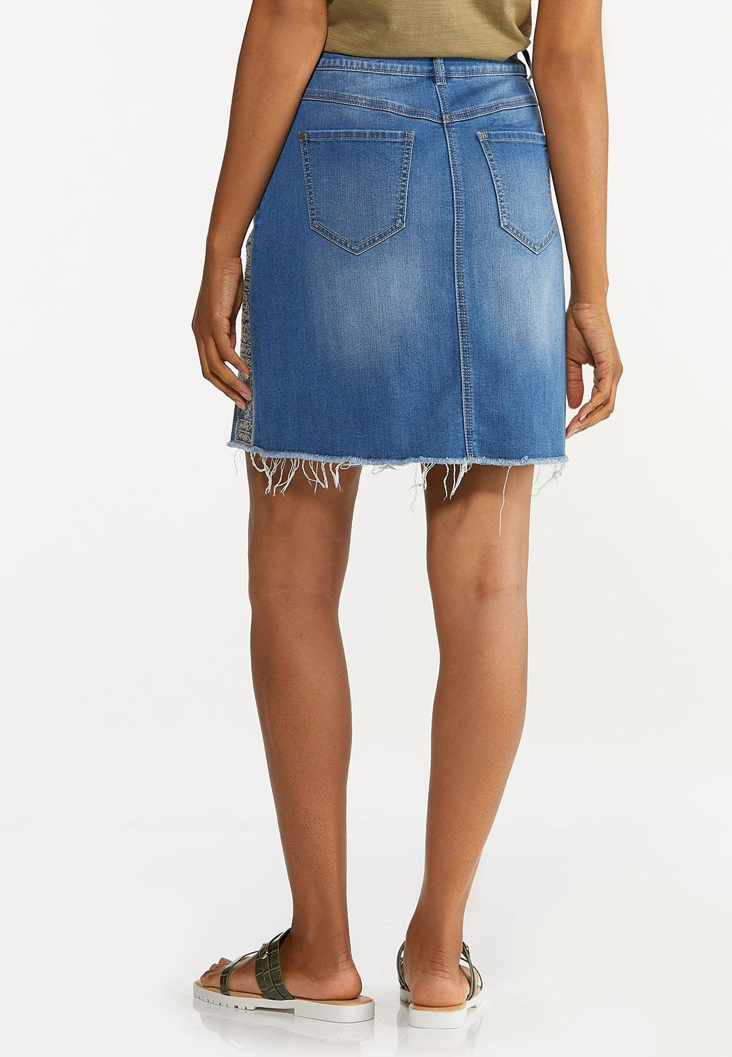 Embroidered Denim Skirt (Item #44627013)