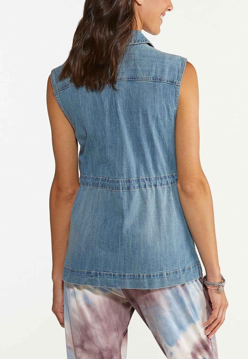 Denim Cinch Waist Vest (Item #44627044)
