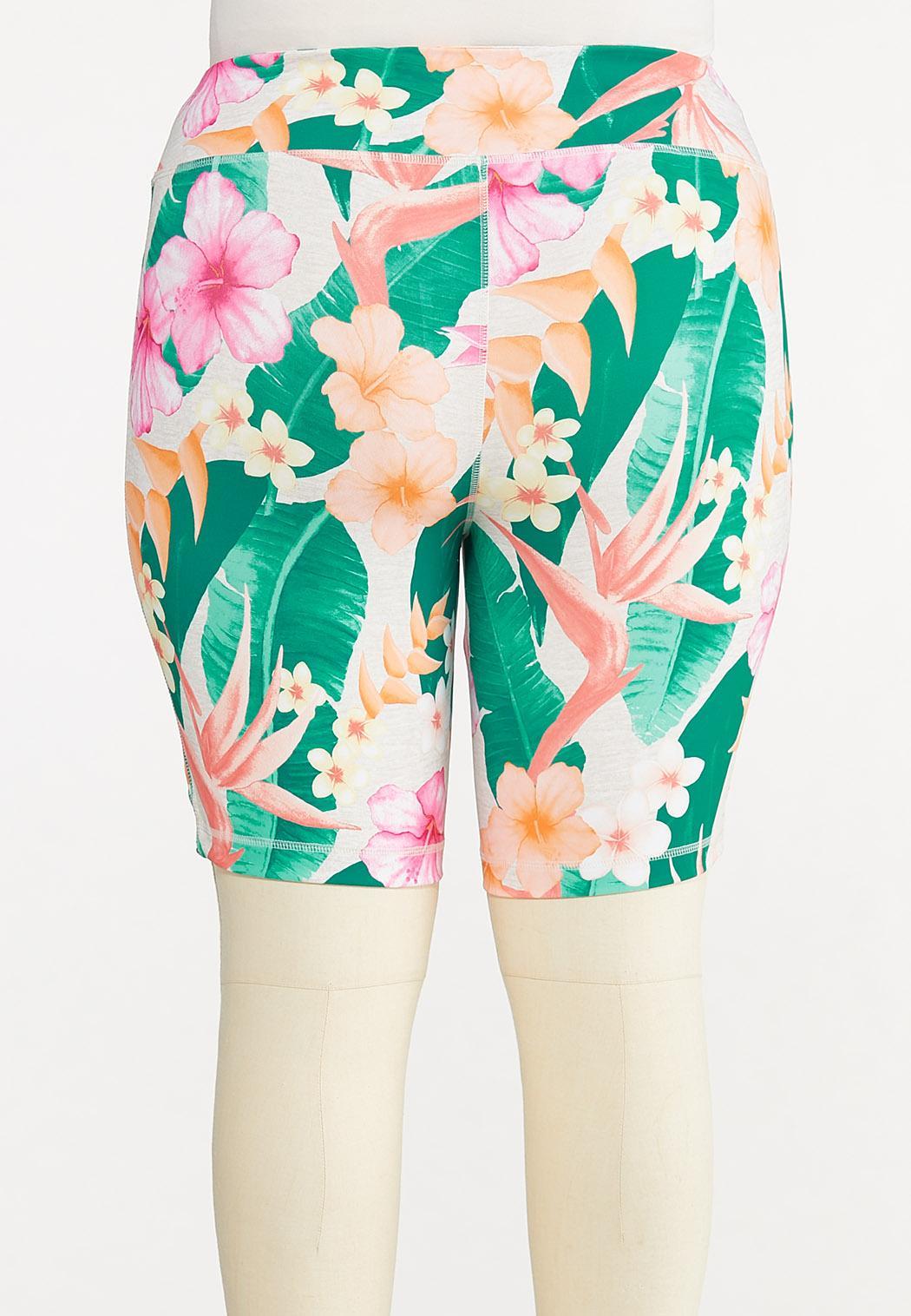 Plus Size Tropical Biker Shorts (Item #44627093)