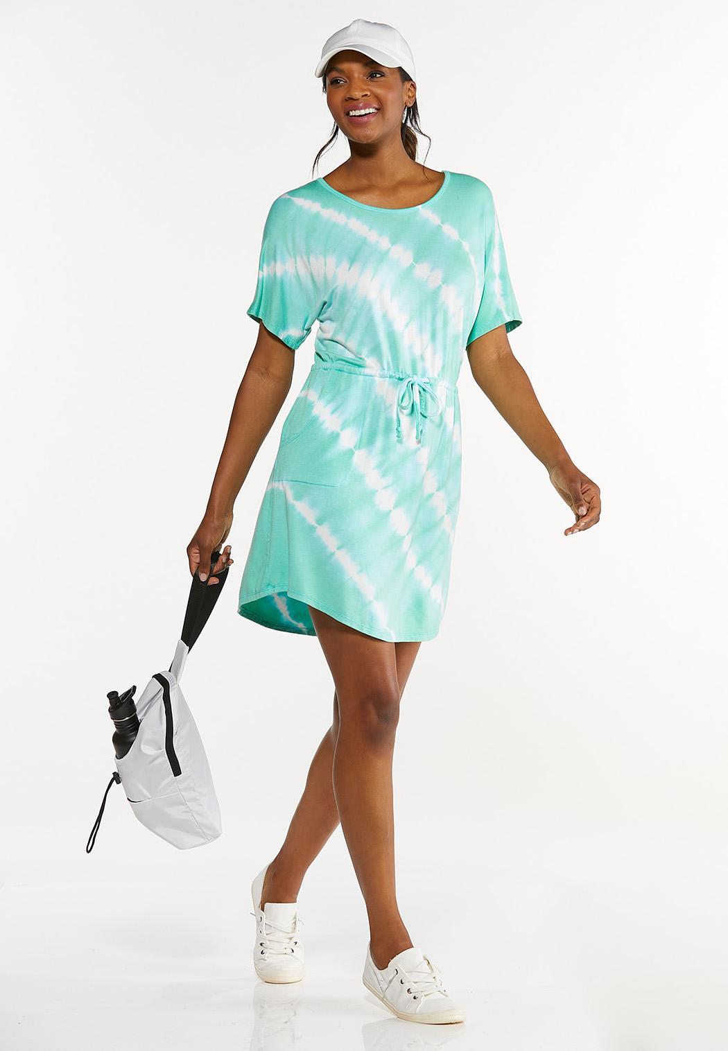 Plus Size Tie Dye Drawstring Dress (Item #44627150)