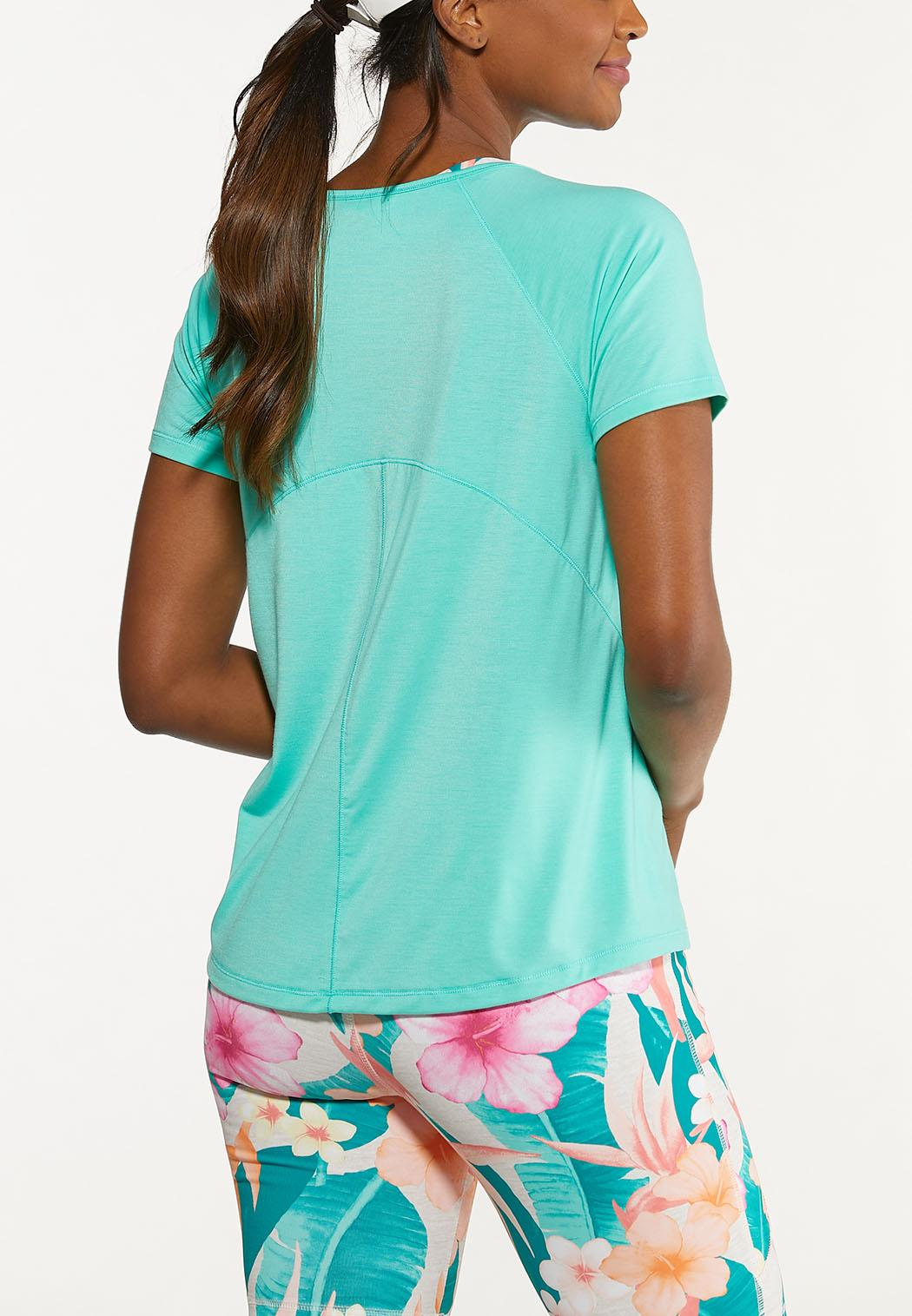 Plus Size Solid Stretch Tee (Item #44627233)