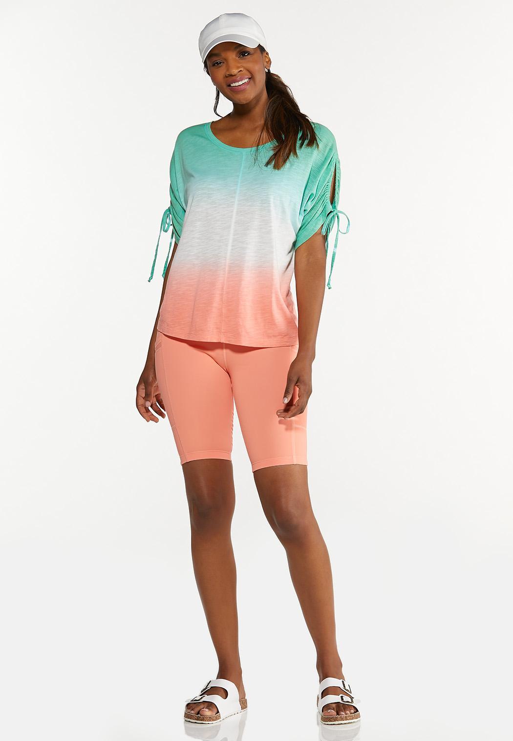 Plus Size Tie Dye Cutout Sleeve Top (Item #44627291)