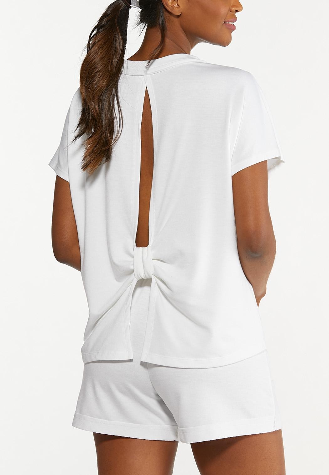 Plus Size French Terry Cutout Back Top (Item #44627319)