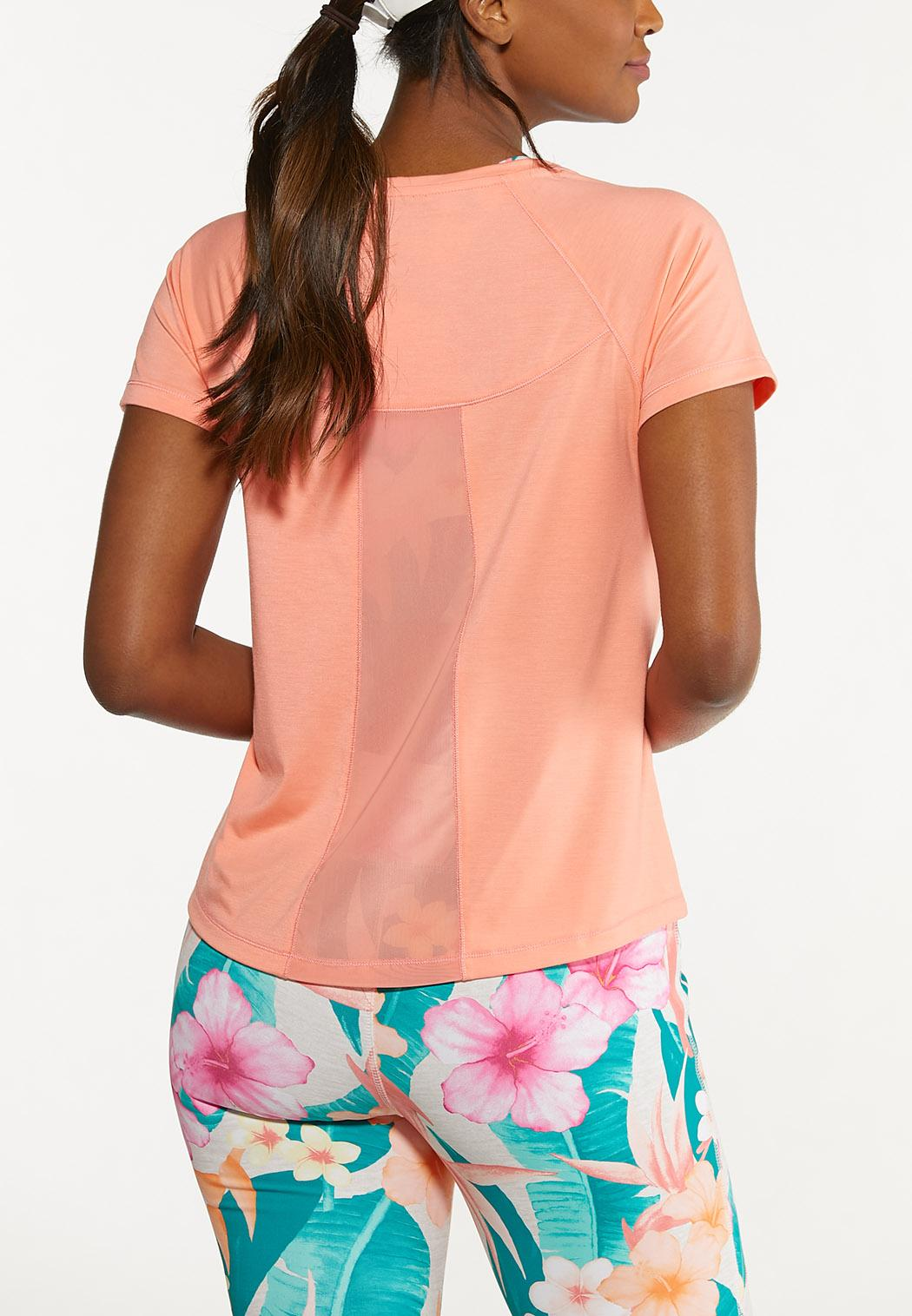 Plus Size Coral Poly Mesh Athletic Top (Item #44627340)