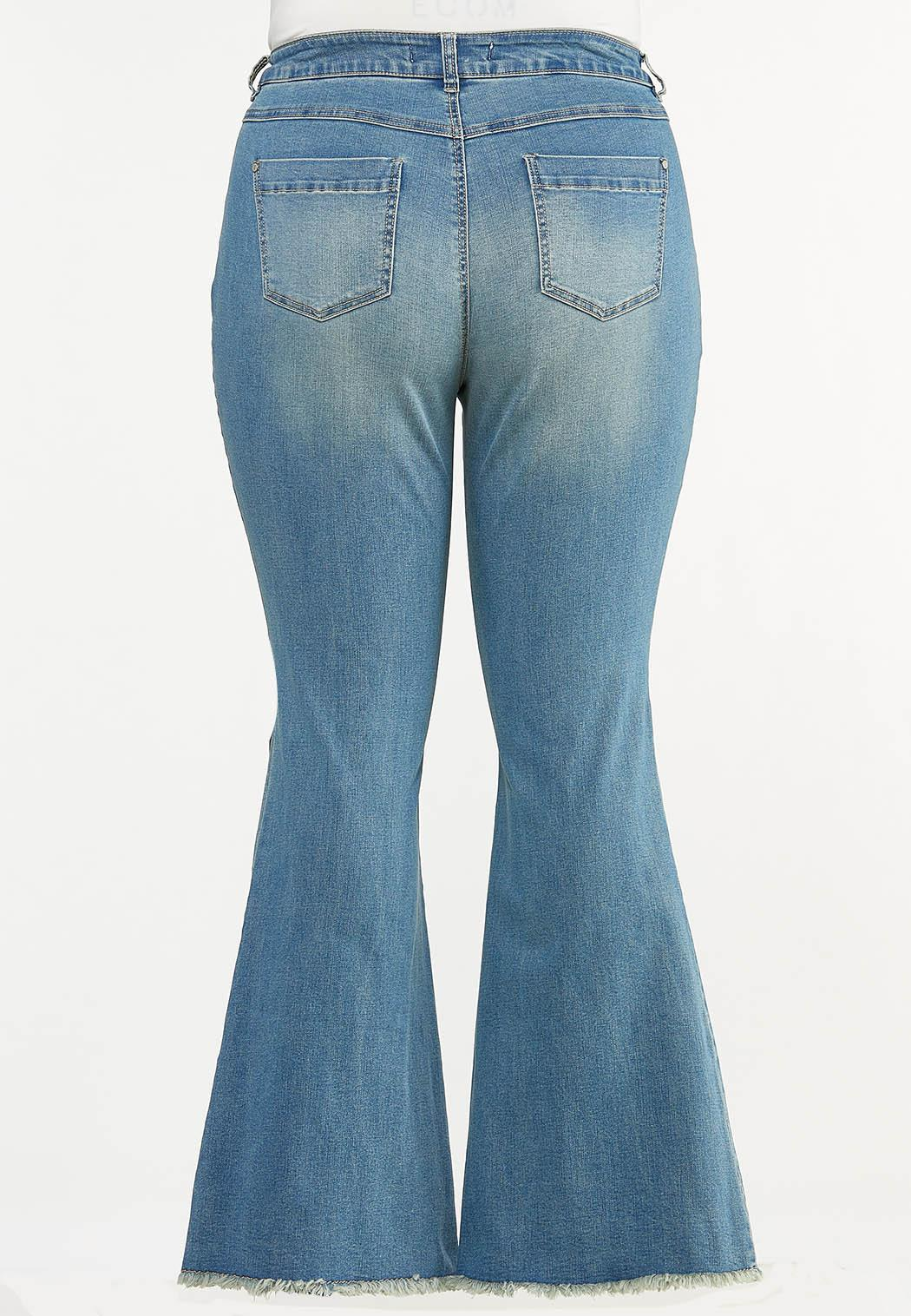 Plus Size Distressed Flare Jeans (Item #44627475)