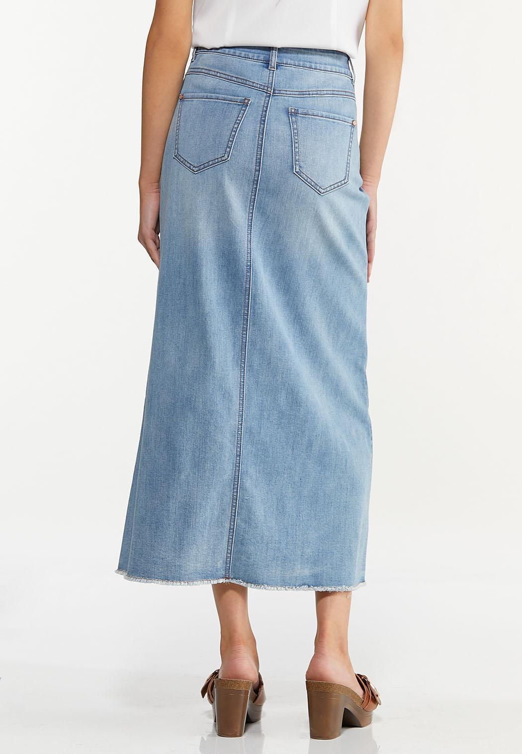Plus Size Frayed Denim Maxi Skirt (Item #44627505)