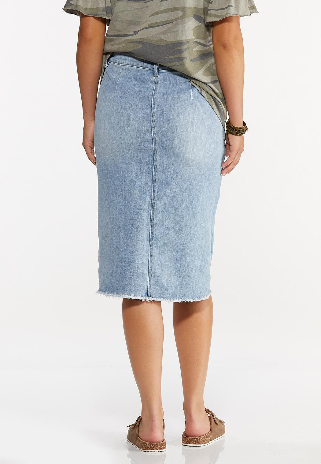 Plus Size Distressed Button Front Denim Skirt (Item #44627518)