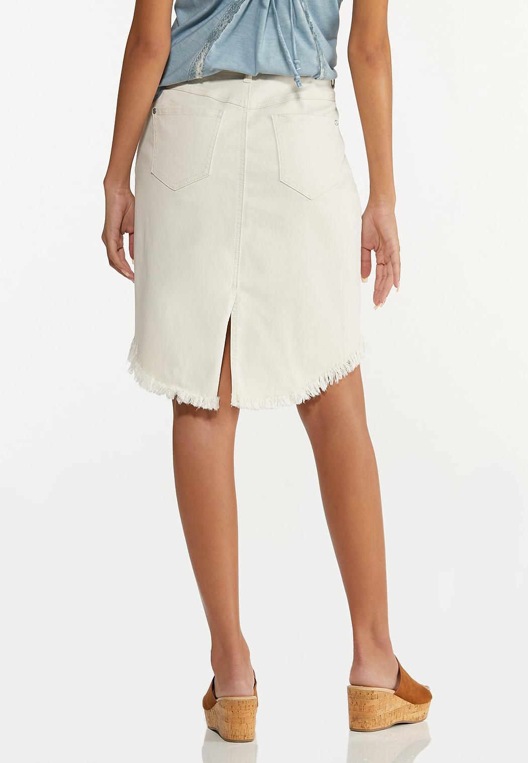 Plus Size Curved Frayed Denim Skirt (Item #44627530)