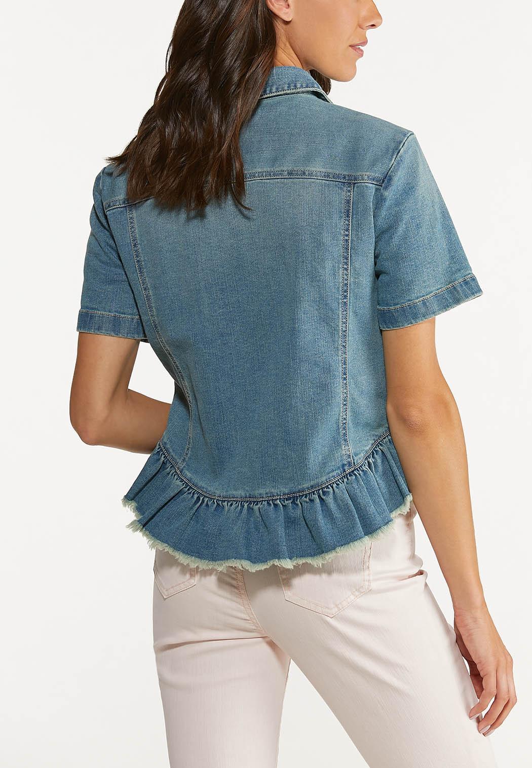 Plus Size Ruffled Denim Jacket (Item #44627557)