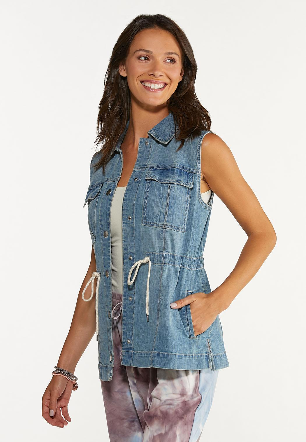 Plus Size Denim Cinch Waist Vest (Item #44627565)