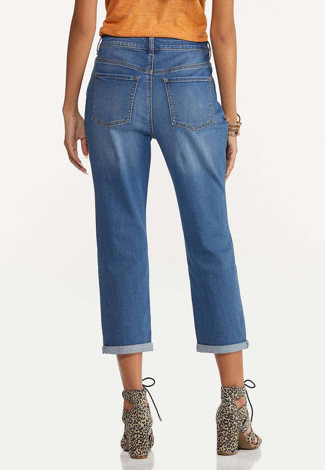 Cropped Distressed Boyfriend Jeans (Item #44627705)