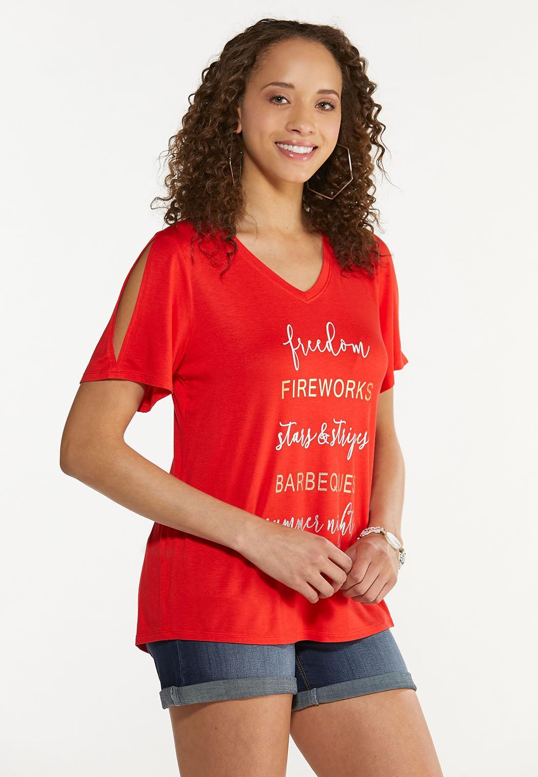Plus Size Foiled Freedom Fireworks Tee (Item #44627936)