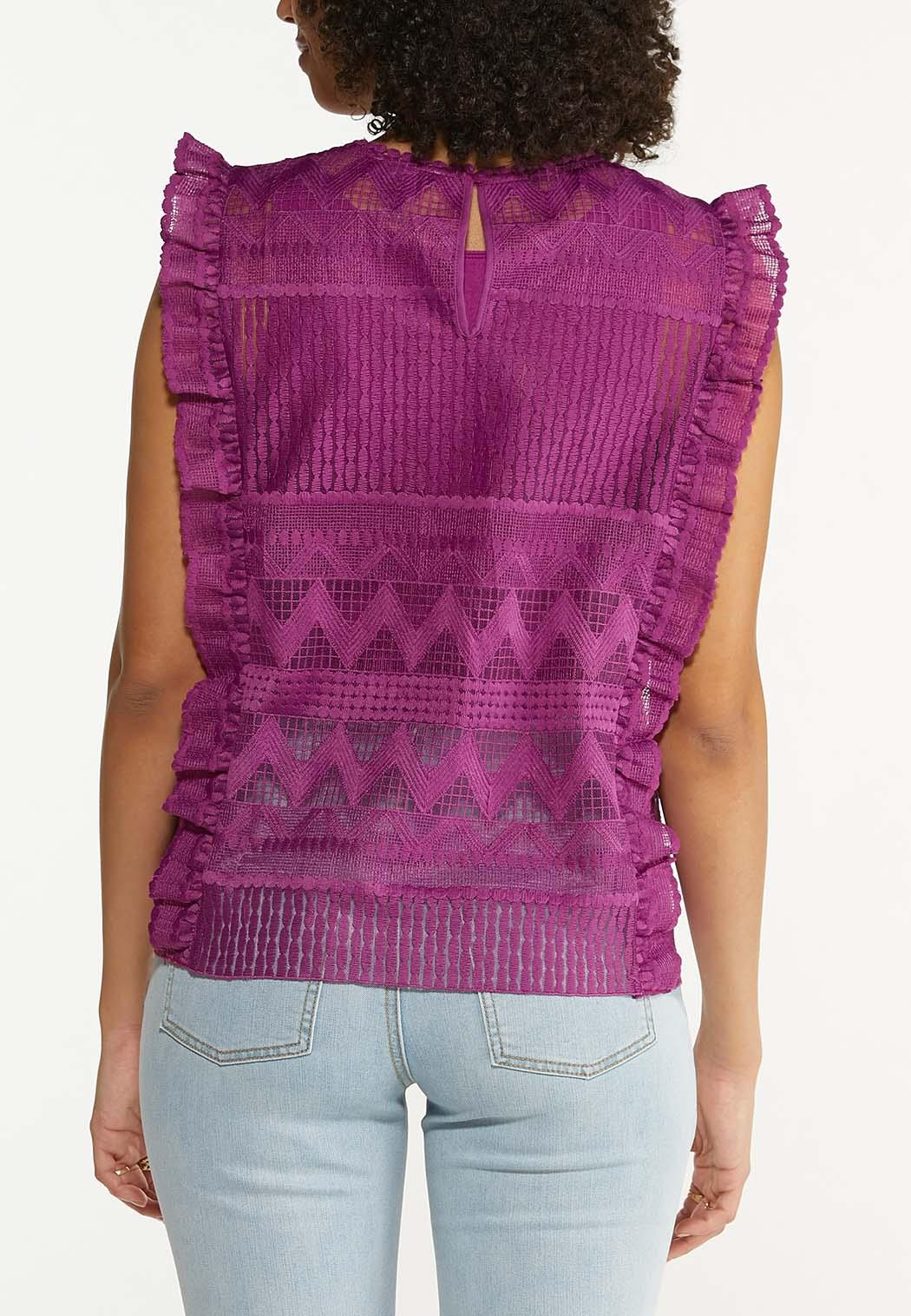 Ruffled Mesh Embroidered Top (Item #44628490)