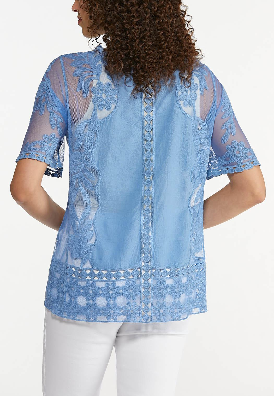 Plus Size Embroidered Mesh Pullover Top (Item #44628623)
