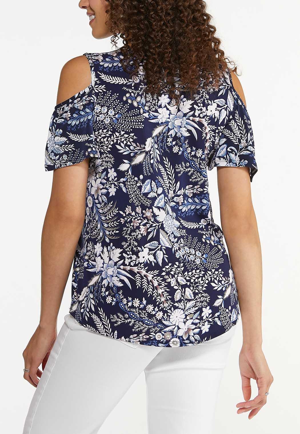 Plus Size Navy Floral Cold Shoulder Top (Item #44628940)
