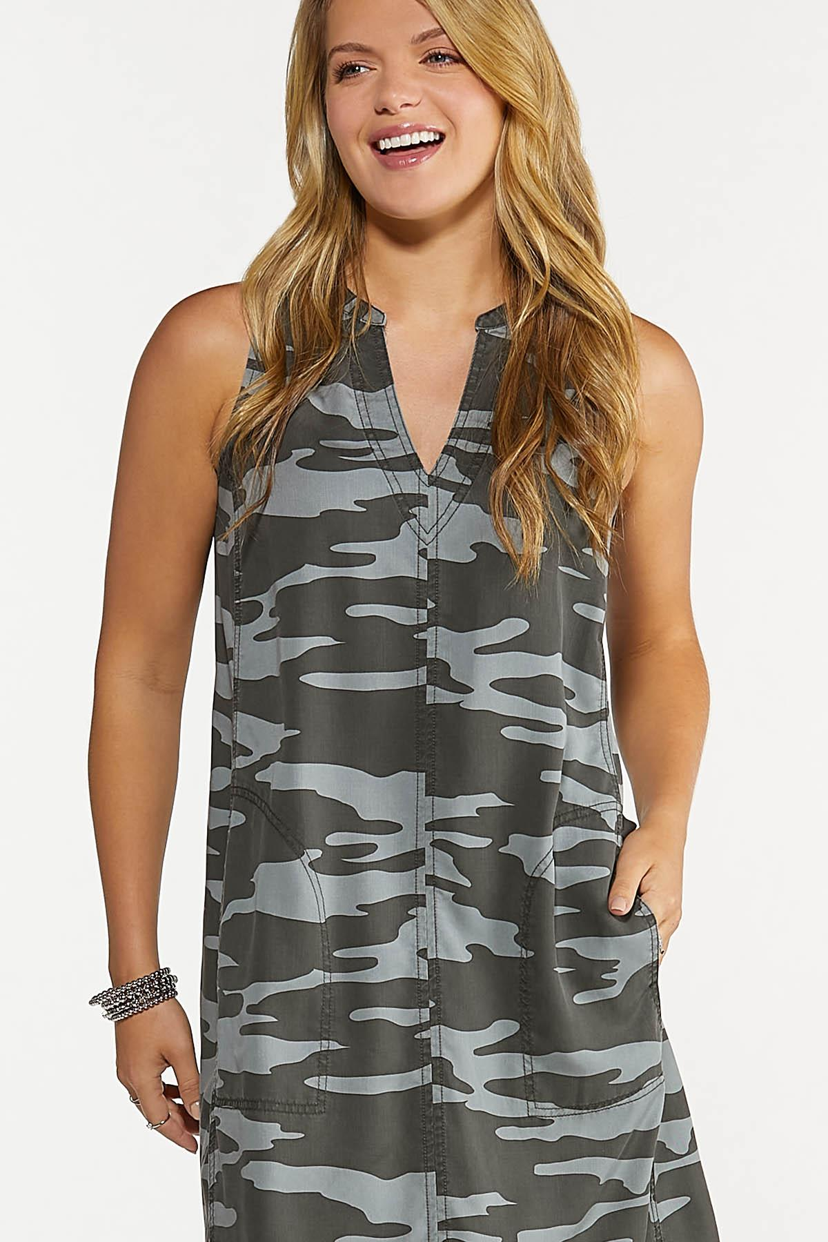 Plus Size Camo Shift Dress (Item #44629194)