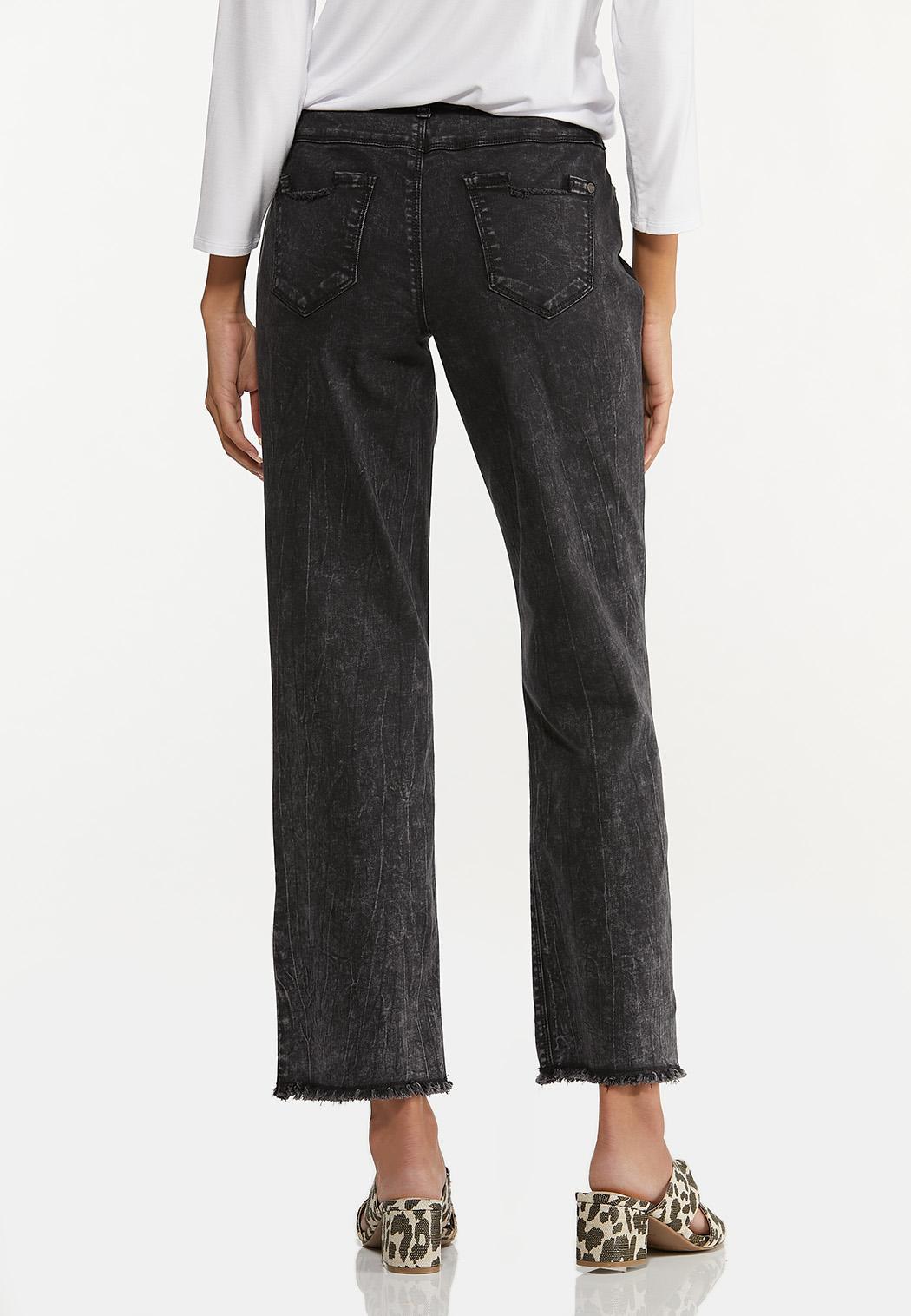 Distressed Black Acid Wash Jeans (Item #44629442)
