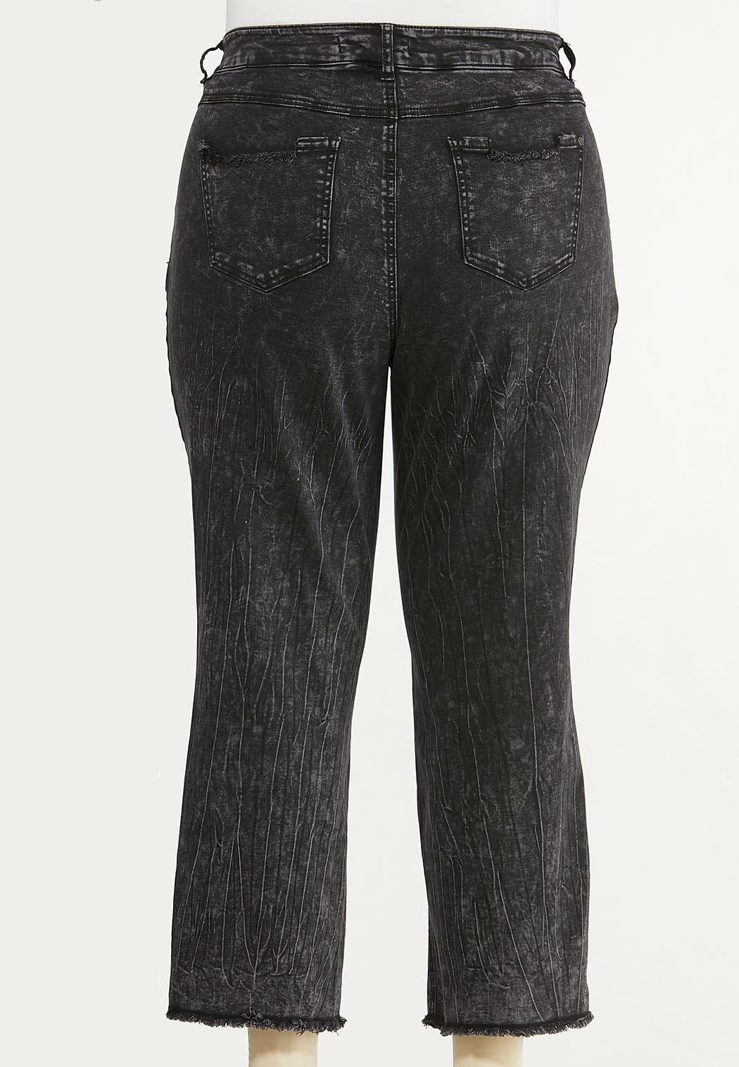 Plus Size Distressed Black Acid Wash Jeans (Item #44629474)