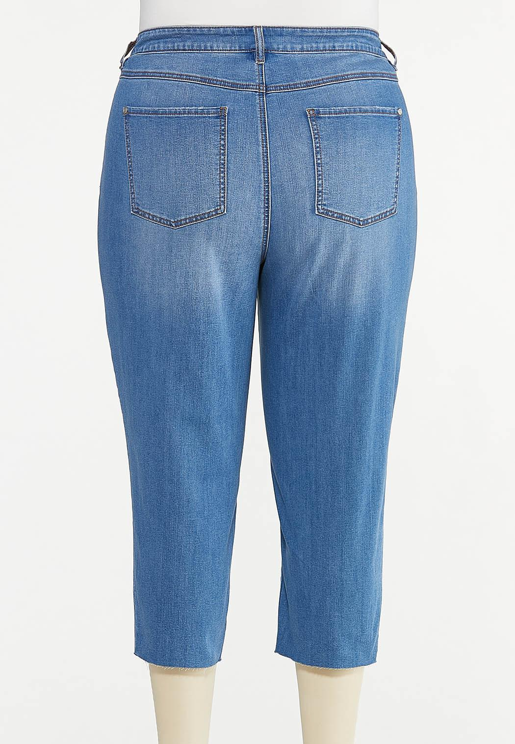 Plus Size Cropped Patchwork Jeans (Item #44629562)