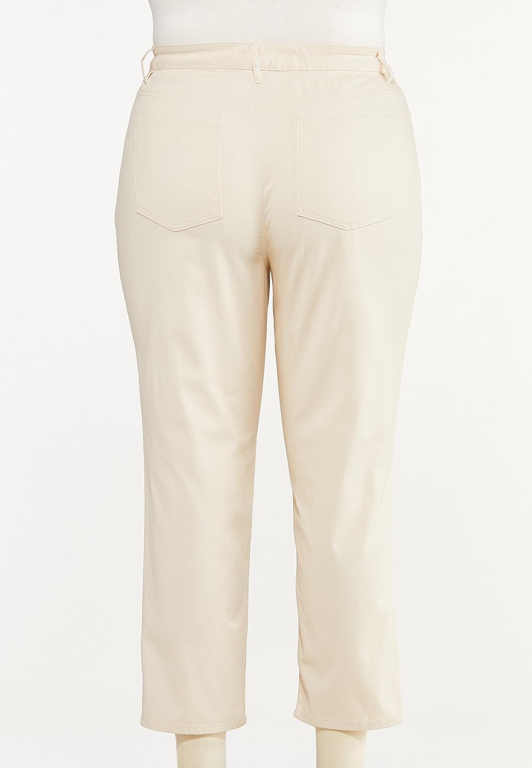 Plus Size Distressed Twill Boyfriend Pants (Item #44629884)