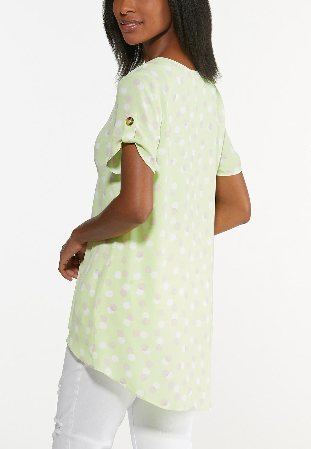 Plus Size Lime Polka Dotted Tunic (Item #44630650)