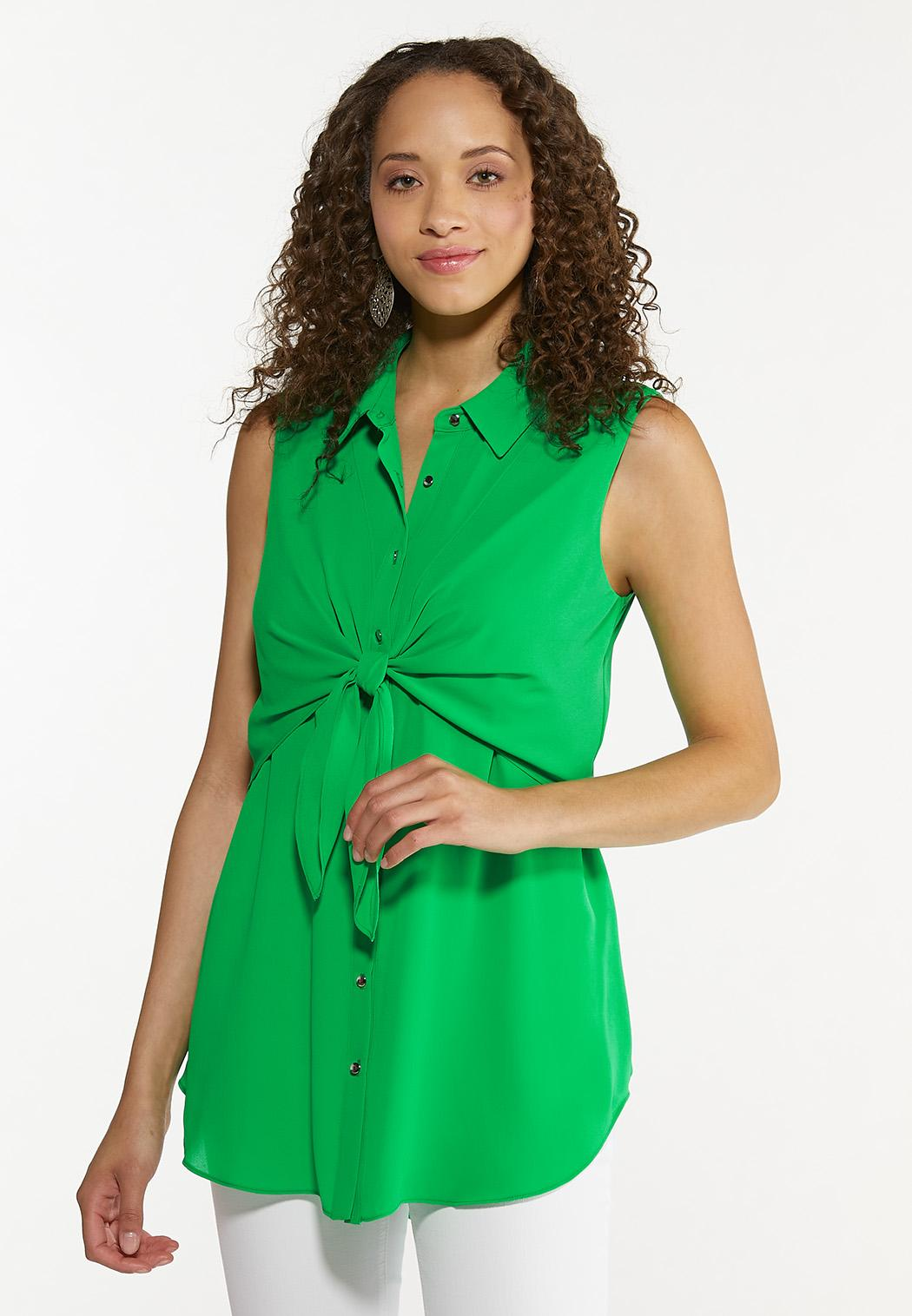 Green Tie Front Tunic (Item #44630664)
