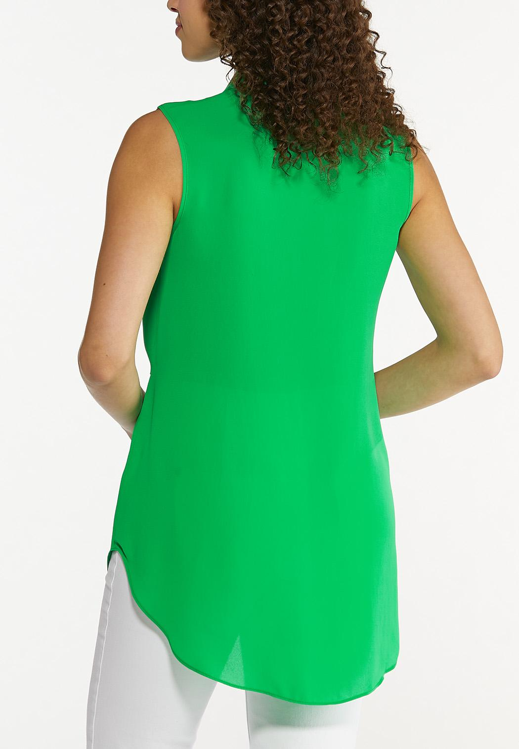 Plus Size Green Tie Front Tunic (Item #44630686)