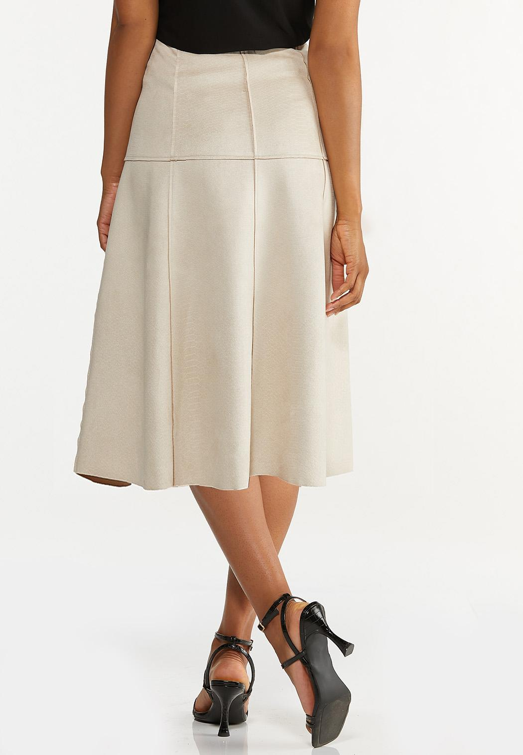 Plus Size Faux Suede Midi Skirt (Item #44631055)